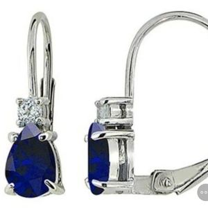 Lab Created Sapphire and White Topaz Earrings